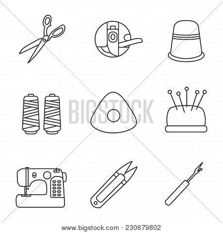 Tailoring Linear Icons Set. Fabric Scissors, Bobbin, Thimble, Thread Spool, Chalk, Pincushion, Sewin