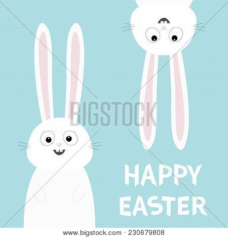Happy Easter. White Bunny Rabbit Set. Funny Head Face Silhouette Hanging Upside Down. Eyes, Teeth, B