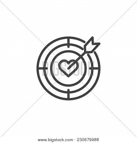 Heart Target Aim With Arrow Outline Icon. Linear Style Sign For Mobile Concept And Web Design. Dart