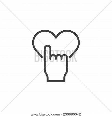 Hand Push Heart Button Outline Icon. Linear Style Sign For Mobile Concept And Web Design. Like Give