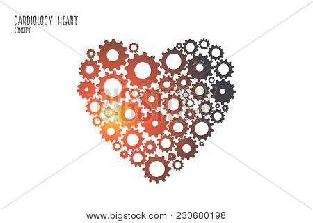 Cardiology Heart Concept. Hand Drawn Heart From A Lot Of Little Gears. Heart Symbol Isolated Vector