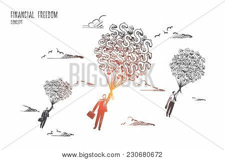Financial Freedom Concept. Hand Drawn Businessmen Flying With A Lot Of Dollars. Money Gives Fill Of
