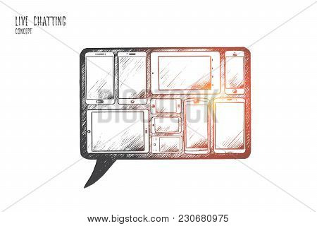 Live Chatting Concept. Hand Drawn A Lot Of Gadgets With Screens. Internet Communication Isolated Vec