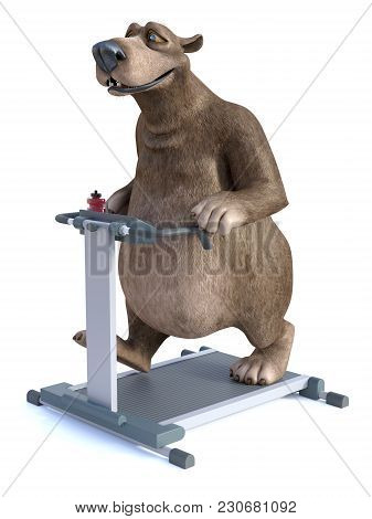 3d Rendering Of A Smiling, Charming Cartoon Bear Exercising By Walking On A Treadmill. White Backgro
