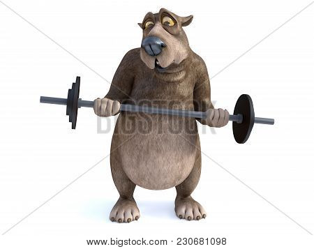 3d Rendering Of A Charming Cartoon Bear Trying To Lift A Barbell. He Looks A Bit Strained. White Bac