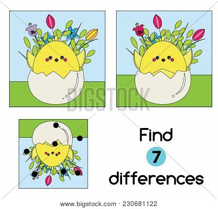 Find The Differences Educational Children Game With Answer. Kids Activity Sheet With Chicken In Egg.
