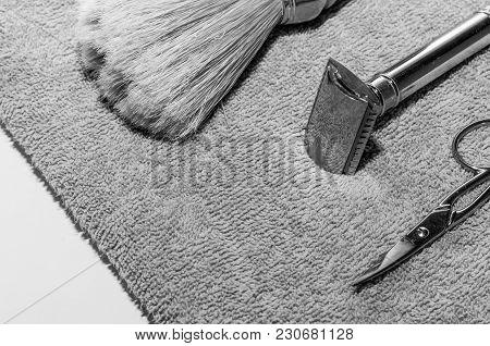 Double Edge Razor, Shaving Brush And Scissors.
