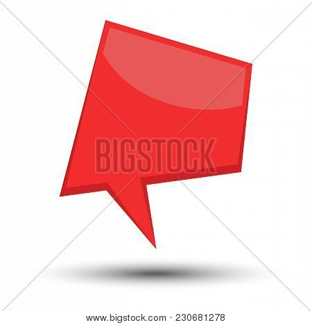 Red Cartoon Comic Balloon Speech Bubble Without Phrases And With Shadow. Vector Illustration.