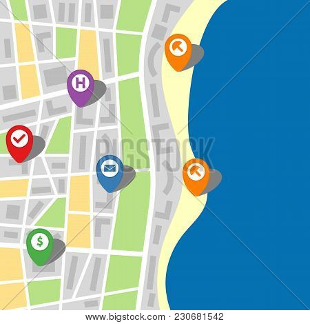 City Map Of An Imaginary City With Sea And Six Pins. Vector Illustration.