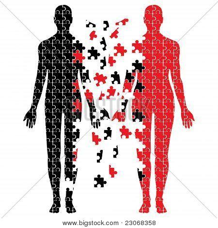 Broken puzzle bodies vector