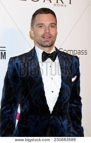LOS ANGELES - MAR 4:  Sebastian Stan at the 2018 Elton John AIDS Foundation Oscar Viewing Party at the West Hollywood Park on March 4, 2018 in West Hollywood, CA