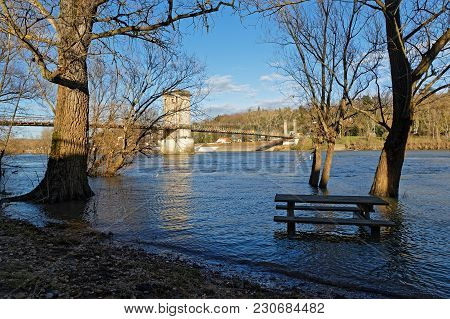 Lyon, France, March 10, 2018 : Flood Of Saone River In Couzon.