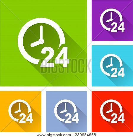 Illustration Of Clock Icons With Long Shadow