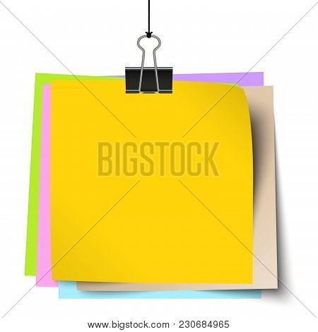 Colored Little Papers With Binder Clip