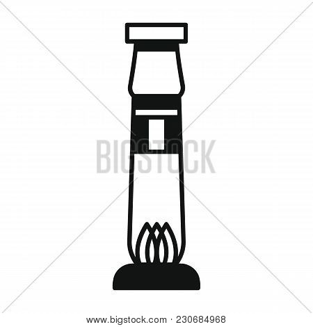 Egyptian Column Icon In Silhouette Style. Egypt Column Object Vector Illustration Isolated On White