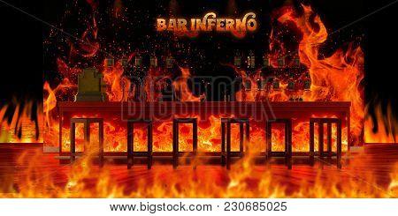 3d Illustration Of The Bar Inferno Interior