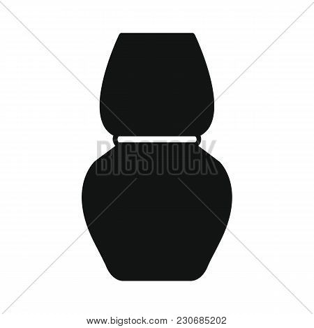 Egyptian Amphora Icon In Silhouette Style. Egypt Amphora Object Vector Illustration Isolated On Whit