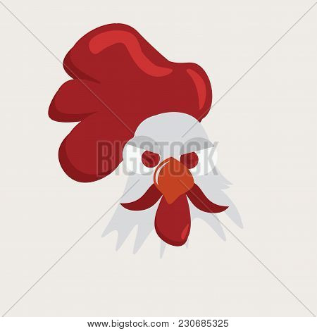 Vector Illustration: Rooster, Cock Or Cockerel Face Portrait. Cute Rooster Head.