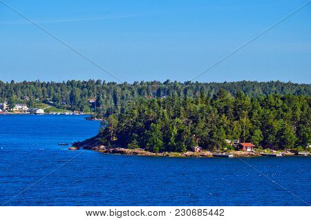 Swedish Settlements On Islets Of Stockholm Archipelago In Baltic Sea, Sweden