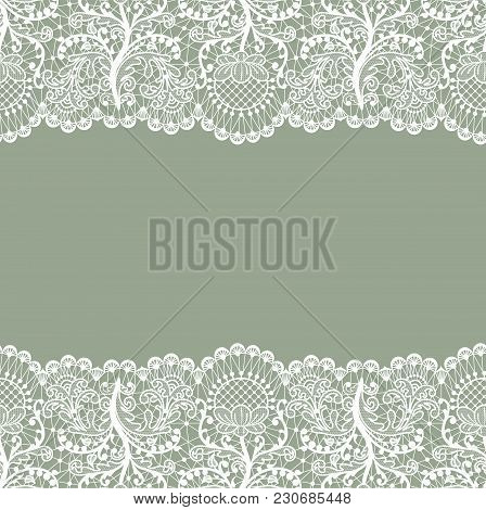 Horizontally Seamless Green Lace Background With Lace Borders