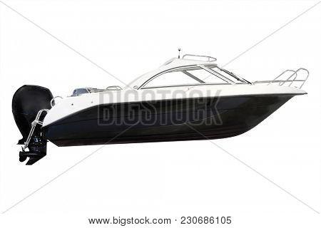 Motorboat isolated under the white background