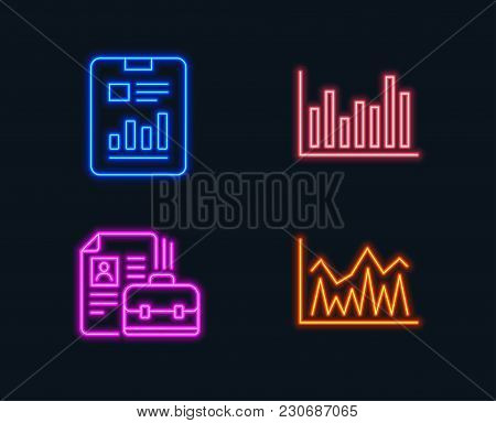 Neon Lights. Set Of Bar Diagram, Report Document And Vacancy Icons. Investment Sign. Statistics Info
