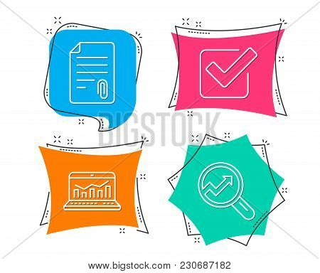 Set Of Attachment, Checkbox And Web Analytics Icons. Analytics Sign. Attach File, Approved Tick, Sta