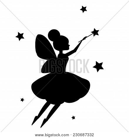 Flying Fairy Flapping Magic Wand. Black Silhouette Isolated On White Background. Vector Ilustration