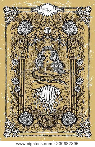 Vector Fantasy Zodiac Sign Virgo In Gothic Frame On Texture. Hand Drawn Engraved Illustration