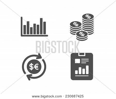 Set Of Bar Diagram, Coins And Money Currency Icons. Report Document Sign. Statistics Infochart, Cash
