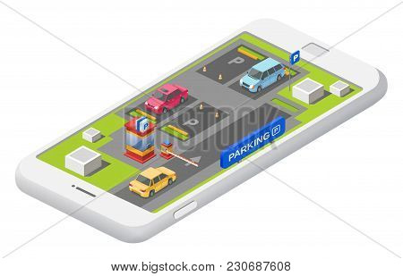Vector Smart Parking Concept With Parking Lot With Cars Vehicle Carpark Map. Isolated Illustration W