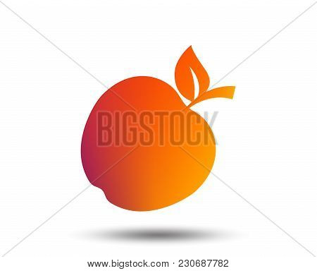 Apple Sign Icon. Fruit With Leaf Symbol. Blurred Gradient Design Element. Vivid Graphic Flat Icon. V