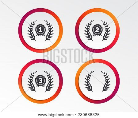 Laurel Wreath Award Icons. Prize For Winner Signs. First, Second And Third Place Medals Symbols. Inf