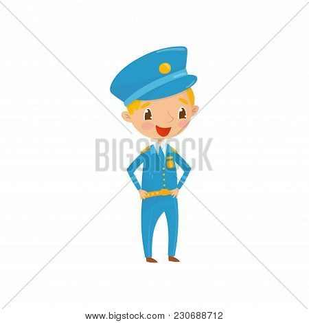 Cheerful Teen Boy Dressed As Policeman. Kid Wants To Be Worker Of Police Department In The Future. P
