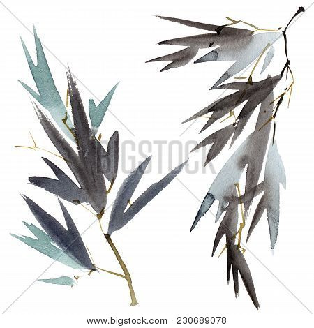 Watercolor And Ink Illustration Of Bamboo Leaves On The Branch. Oriental Traditional Painting In Sty
