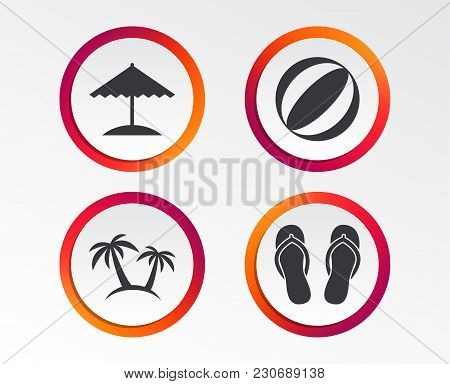 Beach Holidays Icons. Ball, Umbrella And Flip-flops Sandals Signs. Palm Trees Symbol. Infographic De