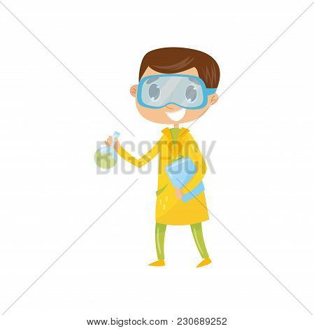 Teen Boy Interested In Becoming Famous Chemist. Cartoon Kid Character In Yellow Coat And Protective