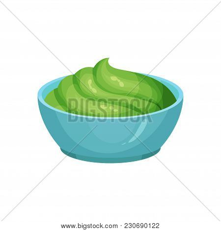 Traditional Mexican Guacamole In Blue Ceramic Dip Bowl. Dishes Component. Cooking Ingredient. Organi
