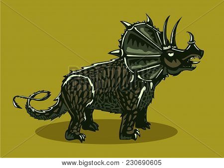 Color Triceratops. Dinosaur Silhouette On Isolated Background. Tattoo Style.