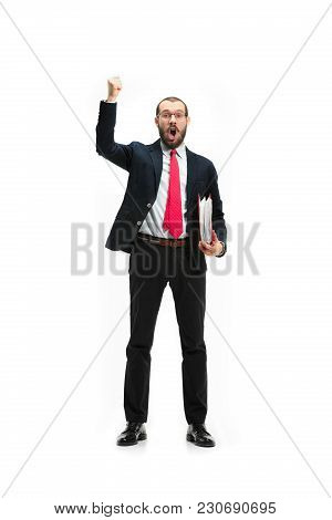 Full Body Or Full-length Portrait Of Businessman With Red Folder On White Studio Background. Happy B