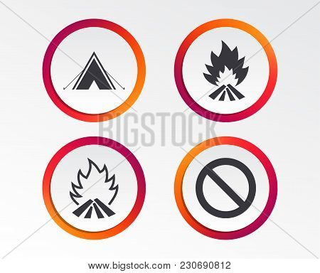 Tourist Camping Tent Icon. Fire Flame And Stop Prohibition Sign Symbols. Infographic Design Buttons.