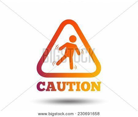 Caution Wet Floor Sign Icon. Human Falling Triangle Symbol. Blurred Gradient Design Element. Vivid G