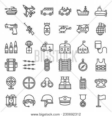 Army And Military Related Line Icon Set