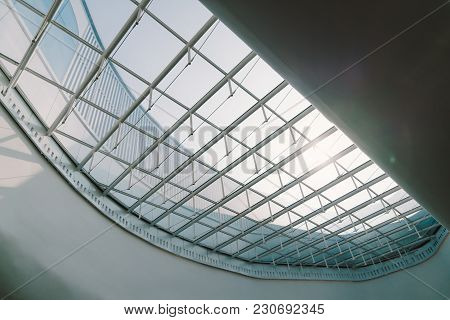 Skylight Or Glass Sunroof Ceiling Of A Building. Modern Design Architecture, Or Energy Conservation