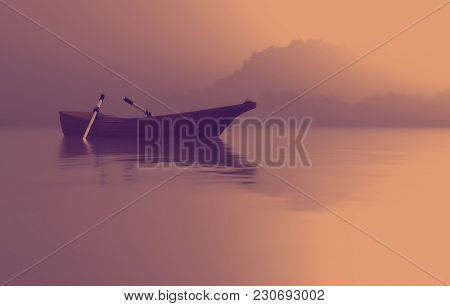 A Boat On The Lake At Sunset. This Is A 3d Render Illustration
