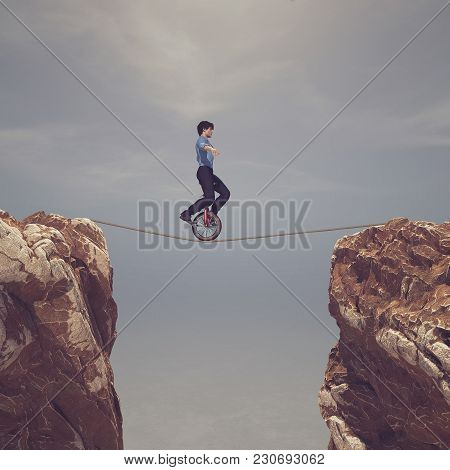 Man Pedaling On Rope Between Two Mountains - This Is A 3d Render Illustration