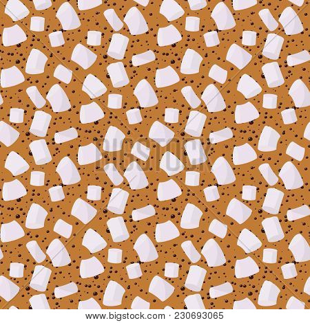 Marshmallows Seamless Pattern Vector Sweet Candy For Coffee Backdrop And Marshmallow Sticks Dessert