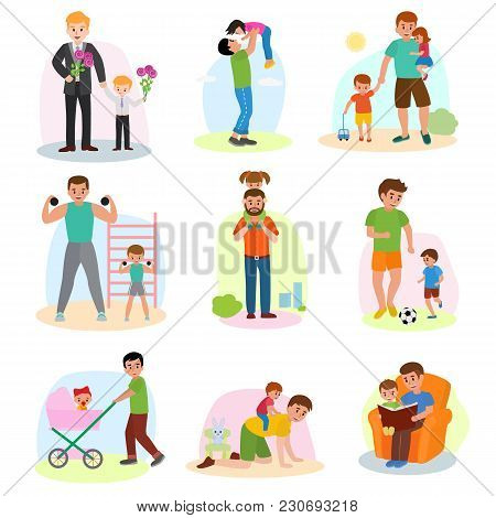 Father And Child Vector Dad And Kids Daughter Or Son Playing Together Or Workout Illustration Of Fat