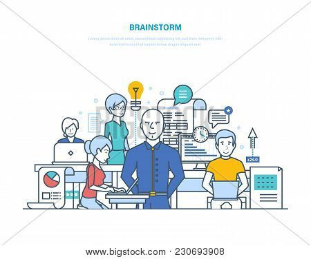 Brainstorm, Big Ideas, Solutions, Creative Thinking. Education And Skills Development, Start-up, Bus