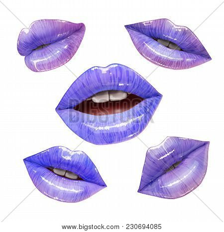 Violet Sensual Juicy Lips Collection. Mouth Set. Vector Lipstick Or Lip Gloss 3d Realistic Illustrat
